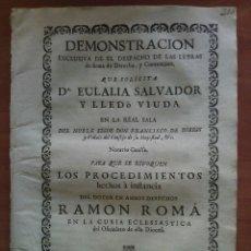 Documentos antiguos: 1739 DEMOSTRACIÓN PARA QUE SE REVOQUEN PROCEDIMIENTOS - BARCELONA. Lote 175485898