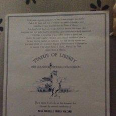 Documentos antiguos: ESTATUA DE LA LIBERTAD STATUE OF LIBERTY ELLIS ISLAND CENTENNIAL COMMISSION CERTIFICATE 1985.. Lote 175522790
