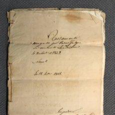 Documentos antiguos: LERIDA. DOCUMENTO NOTARIAL TESTAMENTO VECINO DE LÉRIDA (FIN SIGLO XIX). Lote 175601703