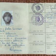 Documentos antiguos: TARJETA ADMINISTRATIVA - INSTITUTO POLITECNICO DE VALENCIA. Lote 175662628