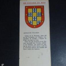 Documentos antigos: HERALDICA MARINERA IMPRESO CROMOLITOGRAFICO ESCUDO VELASCO CLUB DE REGATAS DE SANTANDER 8 X 24 . Lote 175703710