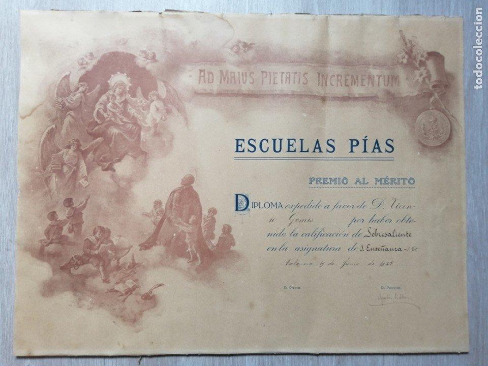 DIPLOMA PREMIO AL MERITO. ESCUELAS PÍAS. 1928 (Coleccionismo - Documentos - Otros documentos)