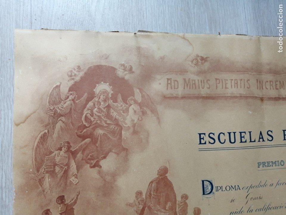 Documentos antiguos: Diploma Premio al Merito. Escuelas Pías. 1928 - Foto 2 - 175787860