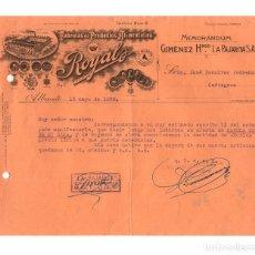 Documentos antiguos: FÁBRICAS DE PRODUCTOS. CHOCOLATES Y DULCES ROYAL. GIMÉNEZ HERMANOS LA PAJARITA. SELLO UGT. CNT.1938. Lote 175789139