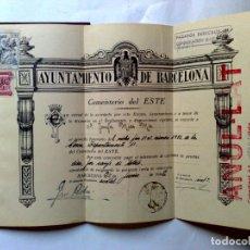 Documentos antiguos: TITULO DERECHO FUNERARIO NICHO,AÑO 1942,(COMPLETO) CEMENTERIO DEL ESTE,BARCELONA (DESCRIPCIÓN). Lote 176006228