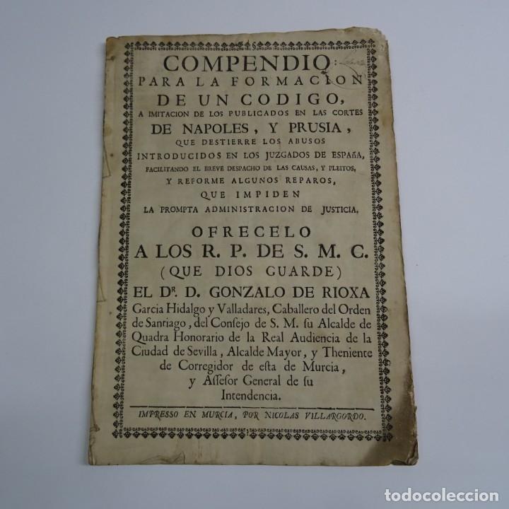 IMPRESO MURCIA S. XVIII (1753). COMPENDIO PARA LA FORMACION DE UN CODIGO.A IMITACION NAPOLES..... (Coleccionismo - Documentos - Otros documentos)