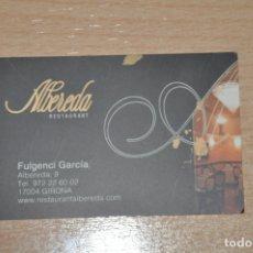 Documentos antiguos: TARJETA RESTAURANTE ALBEREDA, GERONA. Lote 176090300