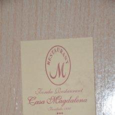Documentos antiguos: TARJETA RESTAURANTE CASA MAGDALENA, SANT RAMON, LERIDA. Lote 176090862