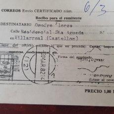 Documentos antiguos: CORREOS ENVIO CERTIFICADO-. Lote 176111048