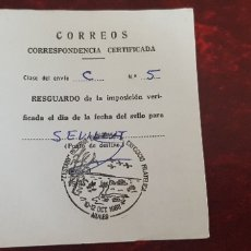 Documentos antiguos: CORREOS ENVIO CERTIFICADO-NULES. Lote 176111500