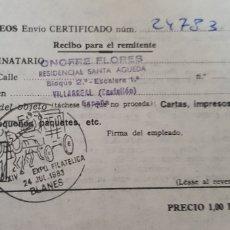 Documentos antiguos: CORREOS ENVIO CERTIFICADO-BLANES. Lote 176116003