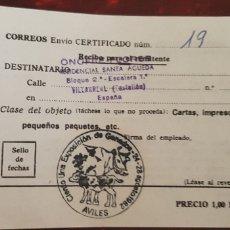 Documentos antiguos: CORREOS ENVIO CERTIFICADO-AVILA. Lote 176118193