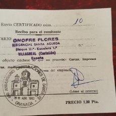 Documentos antiguos: CORREOS ENVIO CERTIFICADO-GRANADA. Lote 176120143