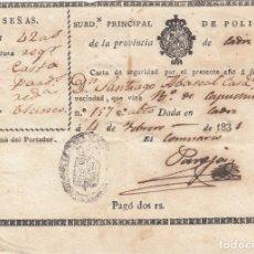 Documentos antiguos: CÁDIZ.MUY ANTIGUO CARNET DE IDENTIDAD.AÑO 1831.. Lote 176129133