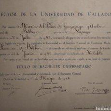 Documentos antiguos: TITULO BACHILLER. UNIVERSIDAD DE VALLADOLID. 1960.. Lote 176130103