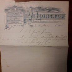 Documentos antiguos: DOCUMENTO FERRETERÍA QUINQUALLA V.LORENZO TUY 1904. Lote 176133963