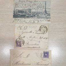 Documentos antiguos: TARJETA POSTAL Y DOS SOBRES - LOTE DE 3 DOCUMENTOS - 1906. Lote 176176627