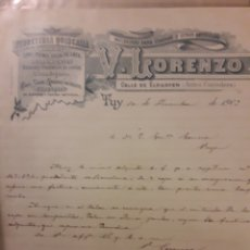 Documentos antiguos: DOCUMENTO DE TUY 1903 FERRETERÍA V LORENZO. Lote 176289079
