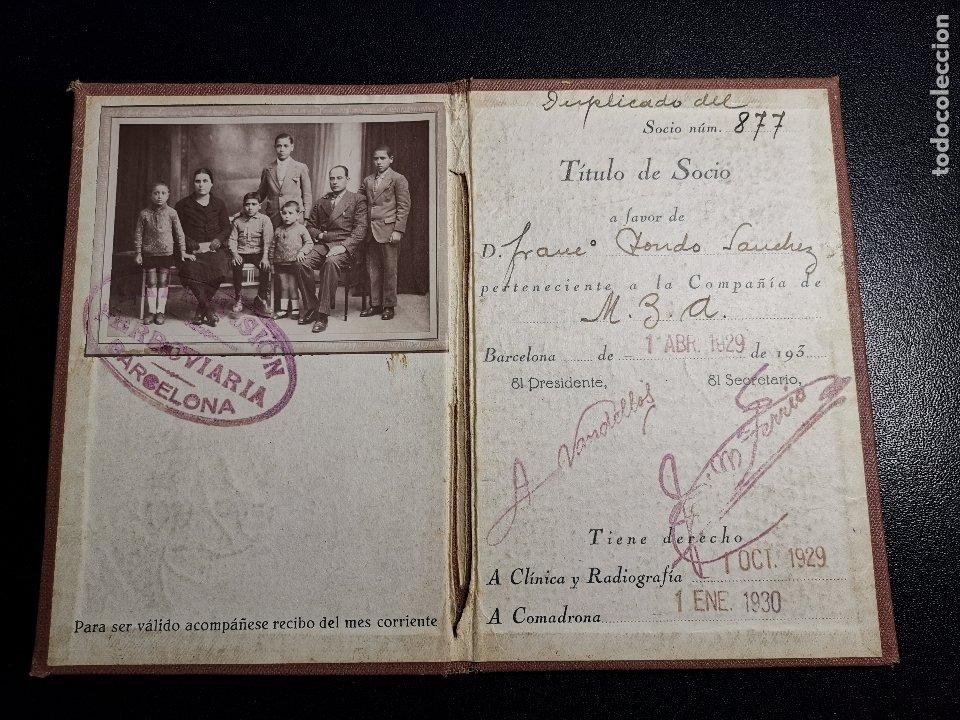 CARNET DE IDENTIDAD. LA PREVISIÓN FERROVIARIA. 1929 BARCELONA. CARTILLA COMPAÑIA M.D.A -RENFE (Coleccionismo - Documentos - Otros documentos)