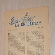 Documentos antiguos: DOS HOJAS REVISTA ANTIGUA REPORTAJE QUIEN INVENTO LA BICICLETA. Lote 176852668