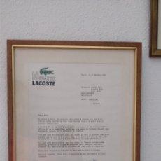 Documentos antiguos: CARTA ORIGINAL FIRMADA POR BERNARD LACOSTE (HIJO DE RENÉ LACOSTE) DEDICADA A BASI, AUTOGRAFO. Lote 176896319
