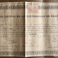 Documentos antiguos: GRANADA- UNIVERSIDAD- TITULO DE BACHILLER 1.888. Lote 176908837