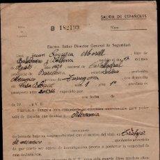 Documentos antiguos: L35-15 SOLICITUD DE SALIDA DE ESPAÑOLES PARA TRABAJAR EN ALEMANIA DE JUAN NOGUERA MORELL AÑOS 50S. Lote 176995027