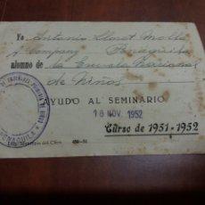 Documentos antiguos: CARNET ,PENAGUILA ALICANTE.1951. Lote 177312105