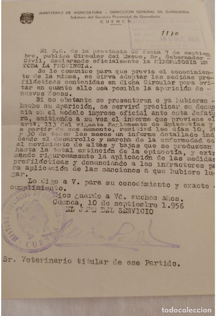 ANTIGUO ESCRITO CUENCA 1956 (Coleccionismo - Documentos - Otros documentos)