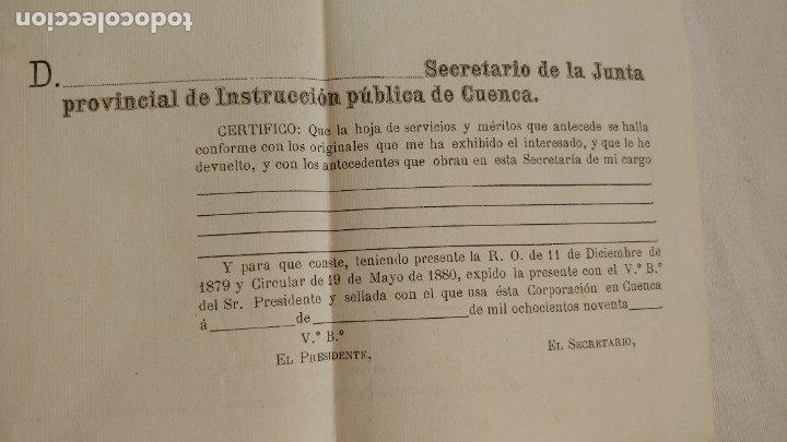 Documentos antiguos: 1890 hoja para méritos y servicios en la carrera - Foto 3 - 177486324