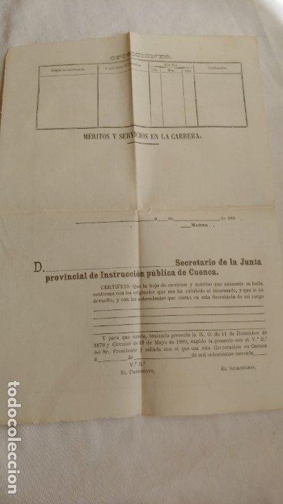 1890 HOJA PARA MÉRITOS Y SERVICIOS EN LA CARRERA (Coleccionismo - Documentos - Otros documentos)