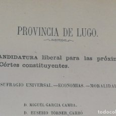 Documentos antiguos: DOCUMENTO POLÍTICO PROVINCIA DE LUGO. . Lote 177573258