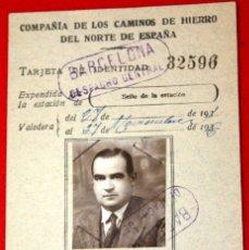 Documentos antiguos: 2 DOCUMENTOS: TARJETA DE IDENTIDAD FERROCARRIL 1936 Y CÉDULA PERSONAL 1942. Lote 177625413