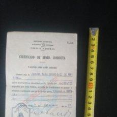 Documentos antiguos: CERTIFICADO BUENA CONDUCTA SALVOCONDUCTO PARA VIAJAR A ESPAÑA. ARGENTINA 1952. Lote 177639383