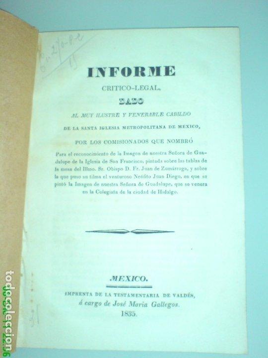 IMAGEN N.S. GUADALUPE, IGLESIA SAN FRANCISCO, PINTADA SOBRE LAS TABLAS DE LA MESA MEXICO 1835 (Coleccionismo - Documentos - Otros documentos)