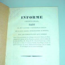 Documentos antiguos: IMAGEN N.S. GUADALUPE, IGLESIA SAN FRANCISCO, PINTADA SOBRE LAS TABLAS DE LA MESA MEXICO 1835. Lote 177656159