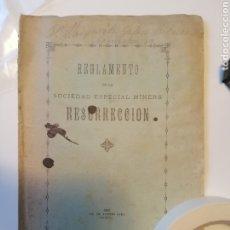 Documentos antiguos: MINAS - REGLAMENTO DE LA SOCIEDAD ESPECIAL MINERA RESURRECCION - MURCIA 1897. Lote 177743612
