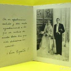Documentos antiguos: JUAN DE BORBON FOTO INVITACION FIRMADA BODA ENLACE 1935 MARIA MERCEDES RECORDATORIO DEDICADO. Lote 178092408