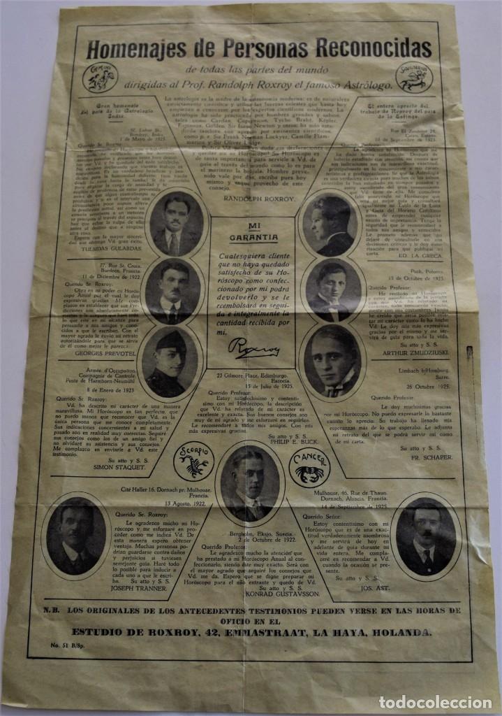 Documentos antiguos: PUBLICIDAD AÑOS 20 DEL FAMOSO ASTRÓLOGO ROXROY STUDIOS DE LA HAYA EN ESPAÑOL - UNA MARAVILLA - Foto 2 - 178136553