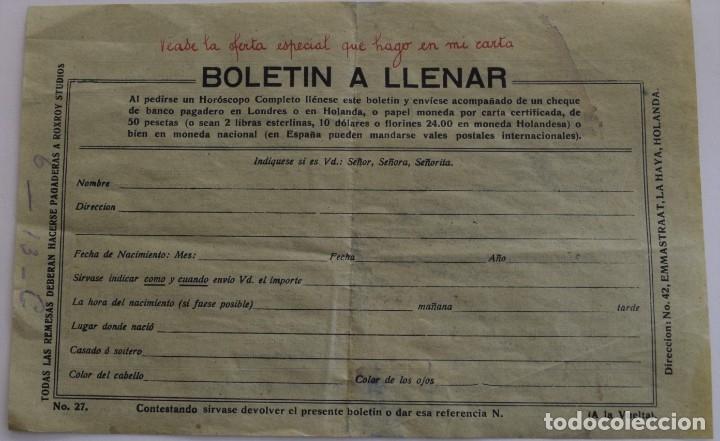 Documentos antiguos: PUBLICIDAD AÑOS 20 DEL FAMOSO ASTRÓLOGO ROXROY STUDIOS DE LA HAYA EN ESPAÑOL - UNA MARAVILLA - Foto 3 - 178136553
