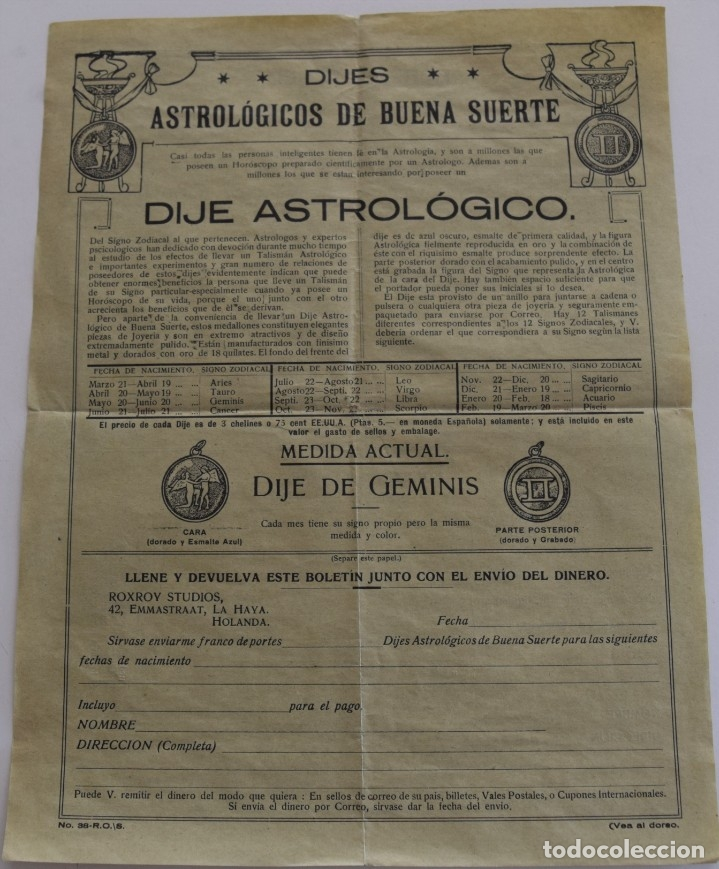 Documentos antiguos: PUBLICIDAD AÑOS 20 DEL FAMOSO ASTRÓLOGO ROXROY STUDIOS DE LA HAYA EN ESPAÑOL - UNA MARAVILLA - Foto 4 - 178136553