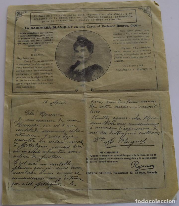 Documentos antiguos: PUBLICIDAD AÑOS 20 DEL FAMOSO ASTRÓLOGO ROXROY STUDIOS DE LA HAYA EN ESPAÑOL - UNA MARAVILLA - Foto 5 - 178136553