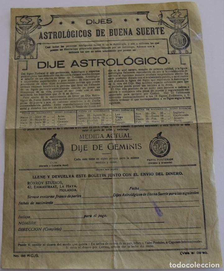Documentos antiguos: PUBLICIDAD AÑOS 20 DEL FAMOSO ASTRÓLOGO ROXROY STUDIOS DE LA HAYA EN ESPAÑOL - UNA MARAVILLA - Foto 6 - 178136553