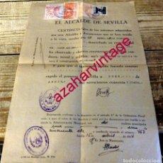 Documentos antiguos: SEVILLA, 1944, CERTIFICADO DE BUENA CONDUCTA TRAS INVESTIGACION DE FALANGE, SELLO AUXILIO DE INVIERN. Lote 178138873