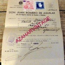 Documentos antiguos: MADRID, 1945, CERTIFICADO NEGATIVO DE PENADOS Y REBELDES, SELLO FALANGE. Lote 178139195