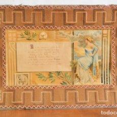 Documentos antiguos: DIPLOMA ESCUELA DE NIÑAS DE ALAIOR 1912 ENMARCADO EN UN IMPRESIONANTE TRABAJO DE COSTURA * MENORCA. Lote 178226928
