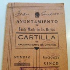 Documentos antiguos: CARTILLA DE RACIONAMIENTO ESPAÑOLA AÑO 1943.. Lote 178238371