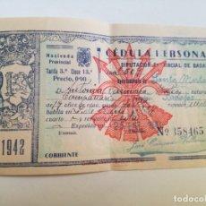 Documentos antiguos: CEDULA PERSONAL AÑO 1942.. Lote 178239042