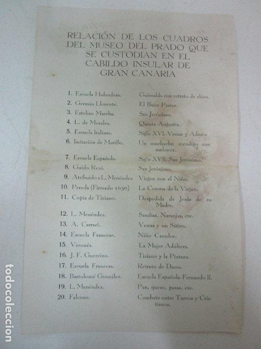 Documentos antiguos: Relación de los Cuadros del Museo del Prado que se Custodian en el Cabilgo Insular de Gran Canaria - Foto 5 - 178257258