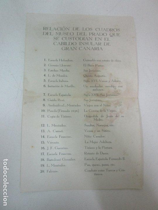 RELACIÓN DE LOS CUADROS DEL MUSEO DEL PRADO QUE SE CUSTODIAN EN EL CABILGO INSULAR DE GRAN CANARIA (Coleccionismo - Documentos - Otros documentos)